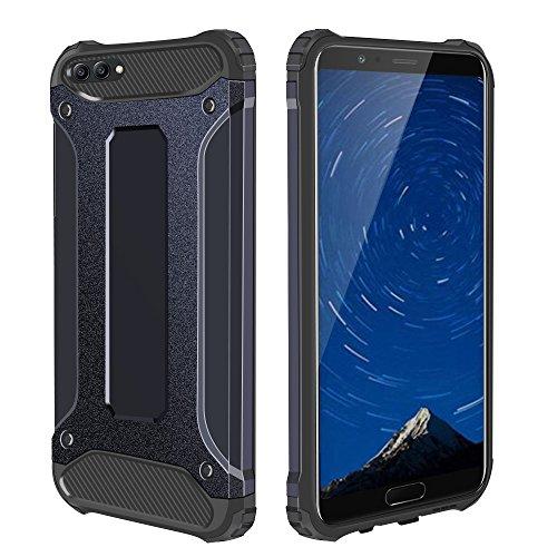 Honor V10 Case, Jiunai Ultra Protective Phone Cover Shockproof TPU Bumper + Hard Cover Dual-Layer Heavy Duty Rugged Case for Huawei Honor V10/ View 10 - Dark Blue