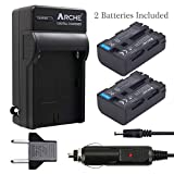 ARCHE NP-FM50 NP-FM55H NP-QM51 <2 Pack> Battery and Charger Kit for [Sony BC-VW50, BC-V615 and Cyber-shot DCR-TRV280 TRV350 TRV250 TRV19 TRV22 TRV27 TRV33 TRV460 TRV140 TRV17 TRV340 TRV38 DSC-F707 R1]