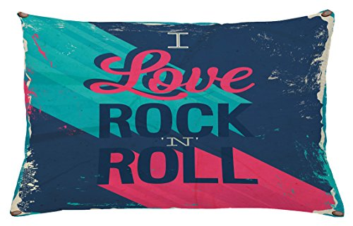 Rock Music Throw Pillow Cushion Cover by Ambesonne, Vintage I Love Rock and Roll Slogan Worn Abstract Poster, Decorative Square Accent Pillow Case, 26 X 16 Inches, Turquoise Dark Coral Blue Grey