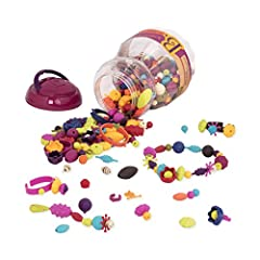 The B. Pop-Arty Jewelry Fashion Kit features 500 unique shapes and designs, including 12 rings and 6 bracelets, that are fun to create and wear. This kit is perfect for a play date, rainy day or party fun. B. Pop-Arty beads snap together quic...