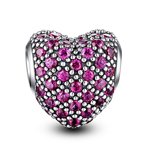 Glamulet Art - Bright Magenta Paved Crystal Heart Charm -- 925 Sterling Silver