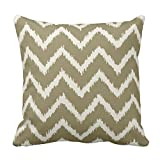 Taupe Tan and Beige Chevron Pillow Square 18 x 18 Inches Pillow Case Cushion Cover