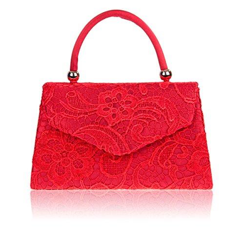 Xardi Londra con manico da donna in pizzo floreale pochette designer donne raso sera borsetta da sposa UK Red