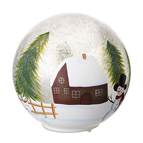 V-More Hand-Painted Christmas Design Glass Ball Ornament with LED String Lights 5.79