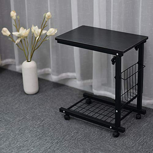 Adjustable Sofa Side Table with Wheels Storage Basket C Shaped for Living Room Black