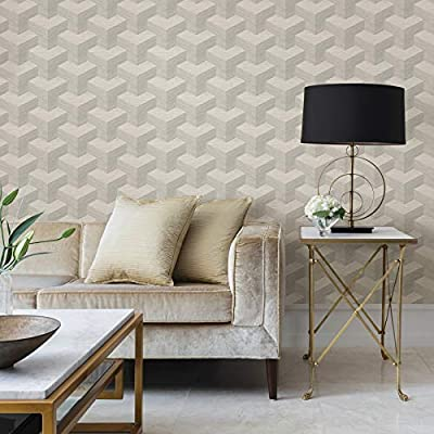 A-Street Prints 2829-82053 Y Knot Geometric Texture Wallpaper Light Grey