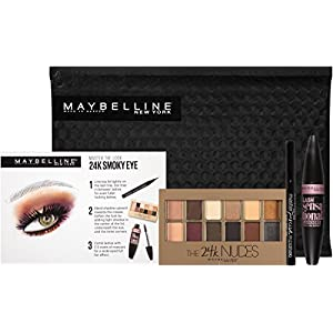 51iL6q7ObBL. AA300  - Maybelline New York Ny Minute Mascara Smoky Eye Makeup Gift Set, 24k Smoky Eye