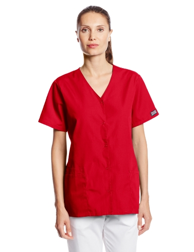 (Cherokee Women's Workwear Snap Front V-Neck Scrubs Shirt, Red, X-Large)