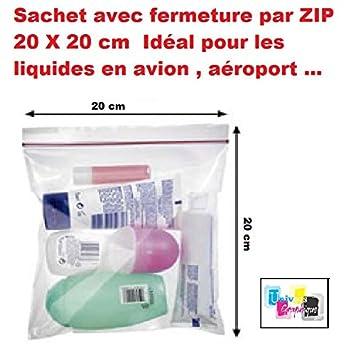 d4d4539ebd lot de 5 ex - Pochette Sachet avec fermeture par ZIP 20 X 20 cm Idéal