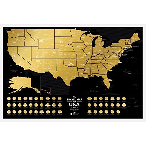 Premium Scratch Places Off US Map - 60 x 40 cm - Places I've Been USA Travel Map - Great Scratchable US Map Gift For Any Traveler - Made From Durable Flexible Plastic to Last Longer by 1DEA.me (United States Map Small)