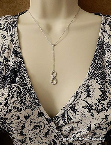 (exceptional beauty Cubic Zirconia Infinity Pendant Channel Link Y Lariat Silver Plated Necklace)