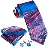 Men Tie Blue Silk Red Designer Tie Pocket Cufflinks Set Wedding Men Tie Print Party Prom