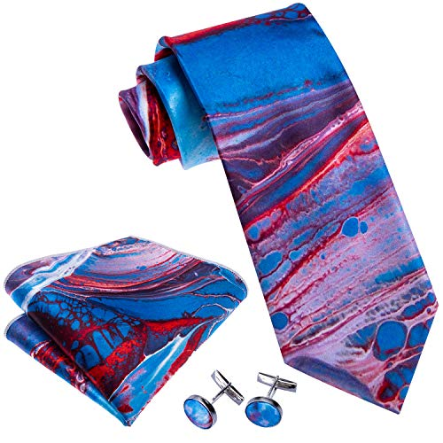 Barry.Wang Blue Red Ties for Men Necktie Set Handkerchief Cufflink -