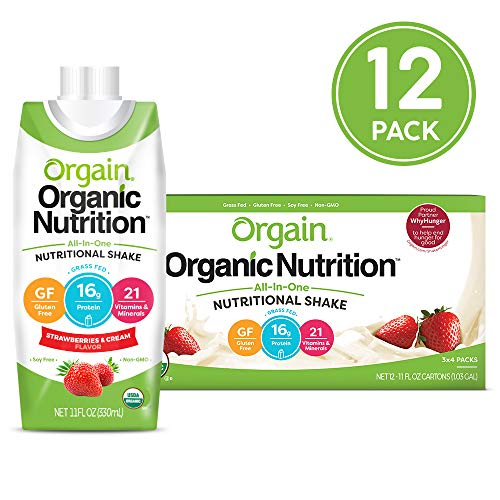Orgain Organic Nutritional Shake, Strawberries & Cream - Meal Replacement, 16g Protein, 21 Vitamins & Minerals, Gluten Free, Soy Free, Kosher, Non-GMO, 11 Ounce, 12 Count (Packaging May Vary) ()