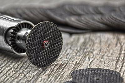 "SPTA iberglass Reinforced Cut-off Wheel Disc with 1 Mandre 1/8"" For Proxxon Dremel Rotary Tools"
