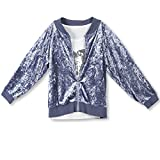 Speechless Big Girls' Crushed Velvet Jacket with Top, Sequin Heart Chambray, XL