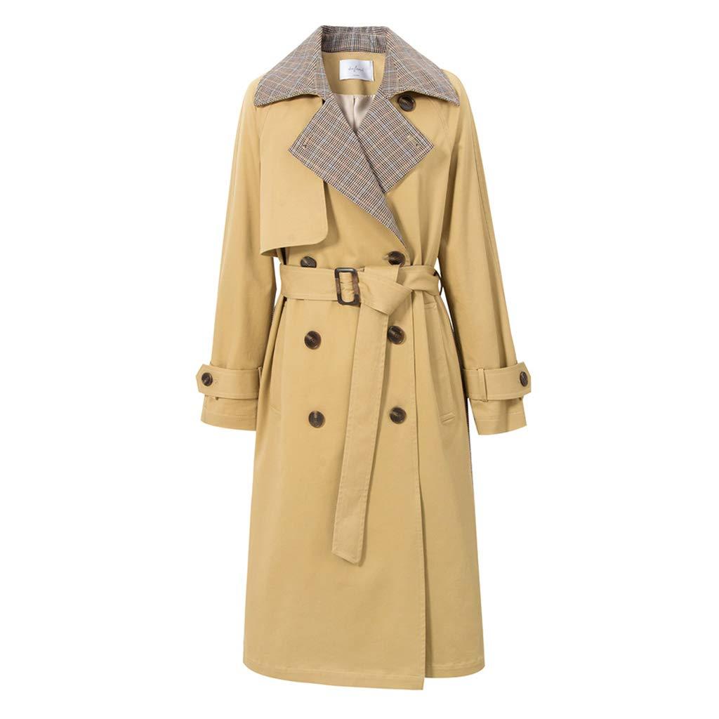 BROWN Fashion Women's Clothing Spring Ladies Windbreaker Retro Female Long Coat Plaid Interior Coat Fashion Student Coat Khaki Lapel Women's Clothing, DoubleBreasted Design (color   Brown, Size   XL)