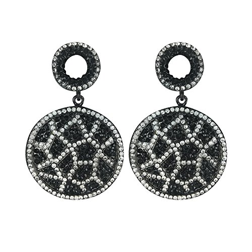 Twinkle Metal Crystal Deluxe Earrings - Glam Circle (White and Black)
