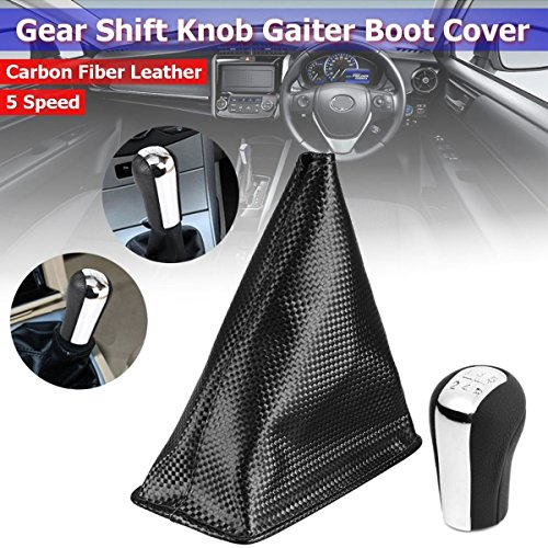 CALAP-STORE - 5 Speed Black Silver ABS Carbon Fiber Leather Gear Knob Gaiter Boot Cover For Toyota Corolla 2005 2006 2007 2008 2009 2004 2003 by CALAP★STORE