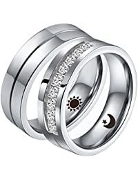 Stainless Steel Rings for Women Men Couple Ring Matching Set Wedding Bands Cubic Zirconia CZ Silver