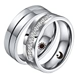 Aeici Promise Rings for Couples Matching Set His Hers Engraved Moon Sun Pattern CZ Women Size 6 & 10