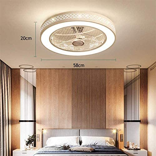 XHJZ-W Ceiling Fan with Lighting, Fan Ceiling Fan LED Light, Adjustable Wind Speed, Dimmable with Remote Control for Bedroom Living Room Dining Room