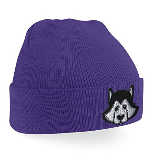 Beanie Hats for Men Siberian Husky Beanies Embroidered Animal Face Knitted Wooly Hat One Size Fits All Beanie Hat - Purple - Embroidered Siberian Husky