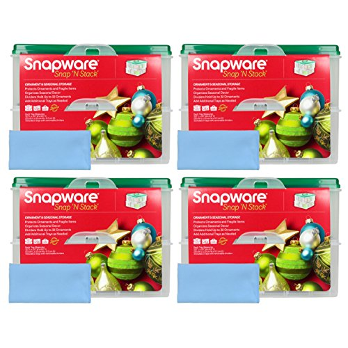 Four Snapware 2-Layer Ornament Keepers w/ Four Blue Micro...