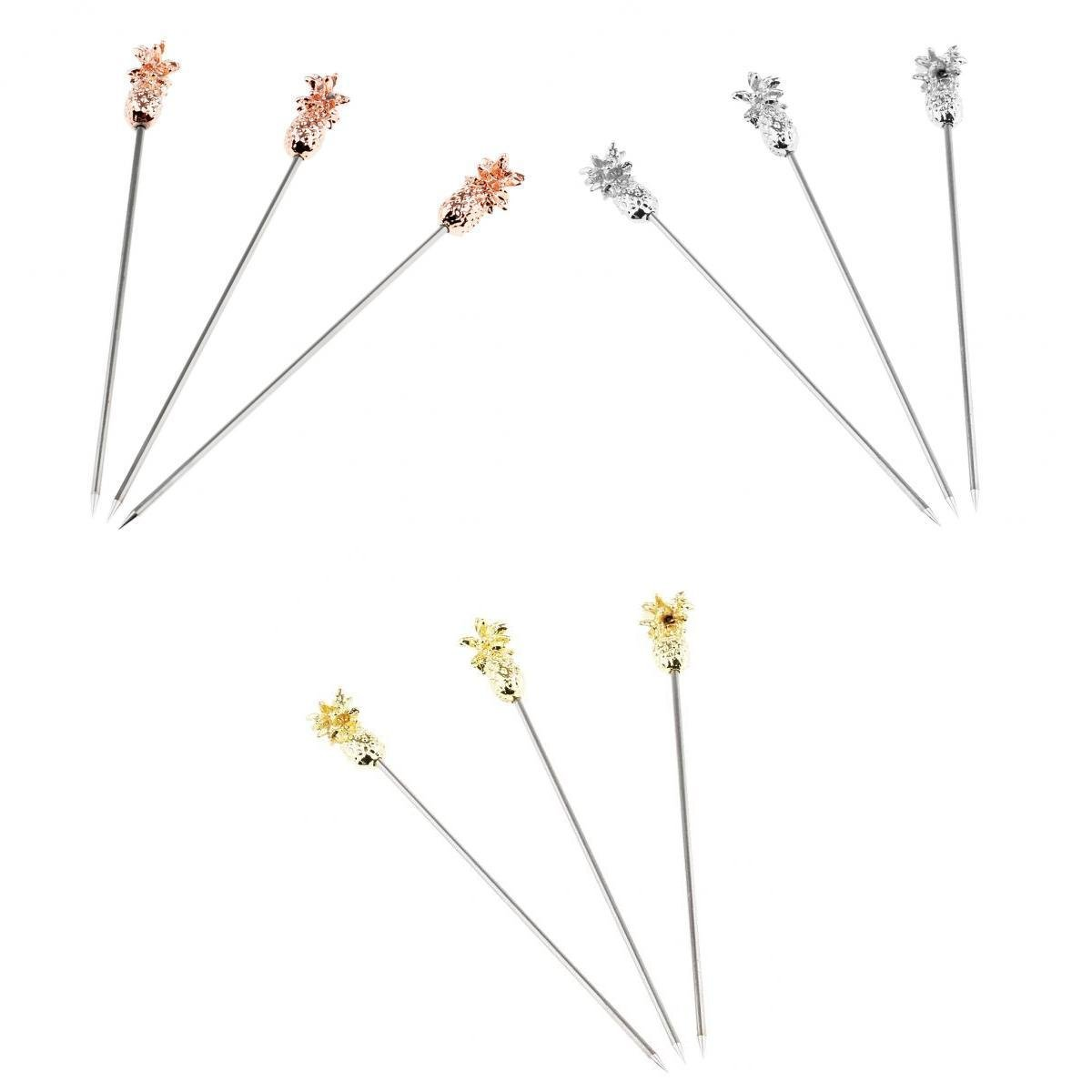 MagiDeal 9PCS Stainless Steel Swizzle Sticks Fruit Pineapple Stick Cocktail Pick for Kitchen Accessory