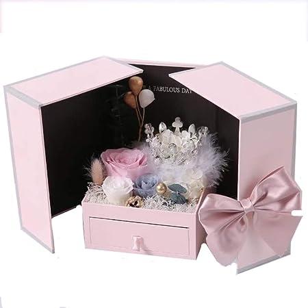 Caja de regalo del día de San Valentín con la lámpara Caja de regalo Corona Rosa Flor Eterna Collar (Size : 13 * 13 * 17cm): Amazon.es: Hogar