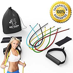 EzCats Resistance Bands Set - 5 Level of Bands With Door Anchor , Ankle Straps And Handles - 100% Satisfaction Guarantee - Can Be Used With Knee Workout & Legs Training - Works Best With Loop Band ,Elastic Exercise,Pull Up Bar, Pilates ,P90x DvD, Crossfit ,Lifeline,Terrell Owens,Any Fitness Equipment & More.