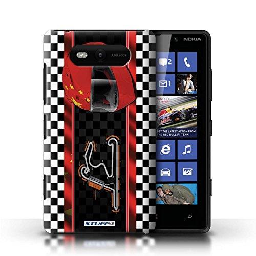 Etui / Coque pour Nokia Lumia 820 / Chine/Shanghai conception / Collection de F1 Piste Drapeau