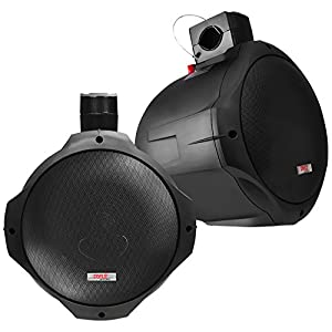 6.5 Inch Dual Marine Speakers - 2 Way IP44 Waterproof, Weather Resistant Outdoor Audio Stereo Sound System with 200 Watt Power and Poly Mica Cone and Butyl Rubber Surround - 1 Pair - PLMRB85 (Black)
