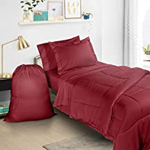 Clara Clark 6 Piece Bed In A Bag Bedding Comforter Set, Twin/X-Large, Burgundy Red