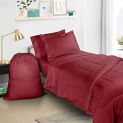 Clara Clark 6 Piece Bed In A Bag Bedding Comforter Set, Twin/X-Large, Burgundy Red (Nice Comforter Sets)