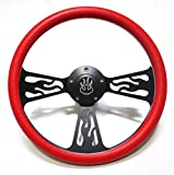 Hot Rod Street Rod Rat Rod Truck Red & Black Flamed Billet Steering Wheel & Horn