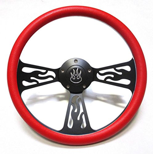 (Hot Rod Street Rod Rat Rod Truck Red & Black Flamed Billet Steering Wheel & Horn )