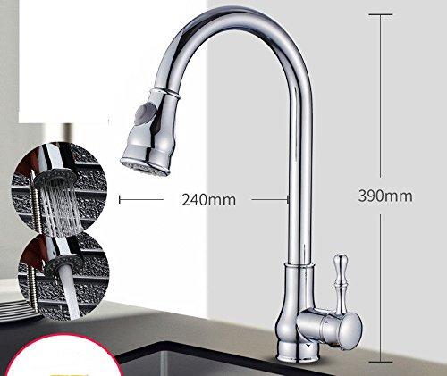 MEIBATH Waschtischarmatur Badezimmer Waschbecken Wasserhahn Küchenarmaturen Messing Pull-Out-Warmes und Kaltes Wasser ausziehbar Schwenkbar Verchromt Küchen Wasserhahn Badarmatur