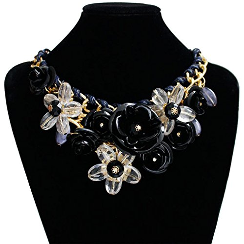 Napoo Women Style Chain Crystal Rhinestone Colorful Flower Luxury Rope Weave Necklace (Black)