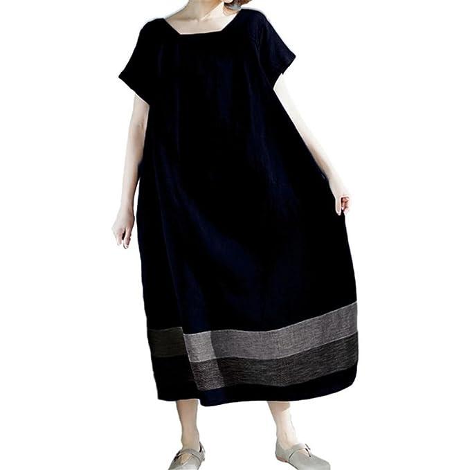 M-5XL Damen Mode Streifen Patchwork Kurzarm Lose Freizeit Partykleid Kleid Tops