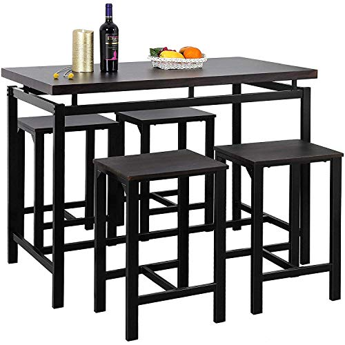 MOOSENG, 5 Pieces Dining Set, Wood Elegant Pub Height Table and 4 Backless Stools, Perfect for Bar, Kitchen, Breakfast Nook, Living Room Occasions, Espresso (High Tables Dining And Stools)