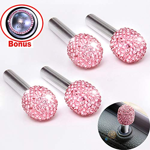 Look Bling - Alusbell 4pcs/Pack Bling Bling Car Door Bolt Door Lock Pin Knob Button Cover Cap Crystal Diamond Car Interior Accessories for Women Universal Fit (Pink-Bling Ball)