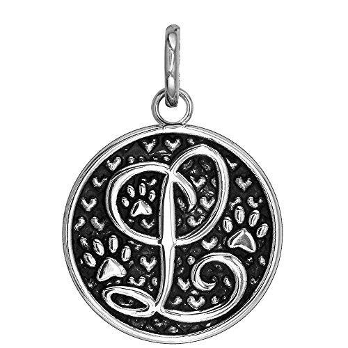 Large Initial Silver Key Ring - L - Large Solid 925 Sterling Silver with Black Finish Szira Collection Paw and Hearts Monogram Initial L Charm, Pendant, Key Ring, for Dog, Cat or Person