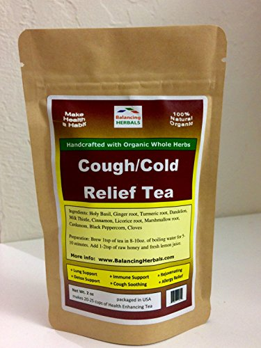 COUGH/COLD RELIEF TEA with Organic Whole Herbs of Turmeric, Holy Basil, Ginger, Cinnamon, Cloves, Licorice, Marshmallow Root, MilkThistle, Dandelion, Cardamom, Black Peppercorn
