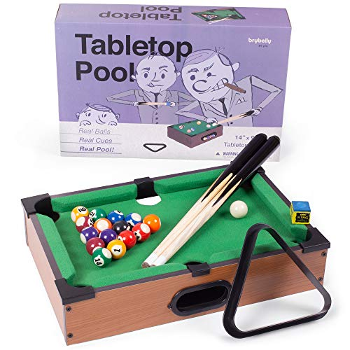 (Tabletop Pool, Mini Pool Table & Billiard Set | Small Billiards Game with 16 Resin Balls, 2 Pool Cues, Triangle Rack, & Chalk | Travel-Friendly & Office Desk Games, Bartop, or Home Use & Easy Storage)