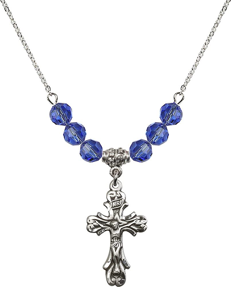 18-Inch Rhodium Plated Necklace with 6mm Sapphire Birthstone Beads and Sterling Silver Crucifix Charm.
