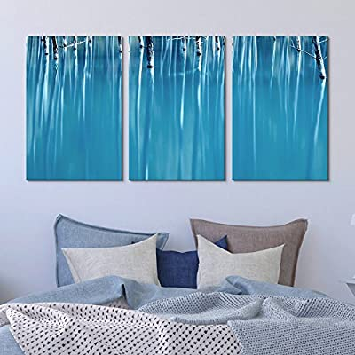 3 Panel Canvas Wall Art - Abstract Trees in Blue Water - Giclee Print Gallery Wrap Modern Home Art Ready to Hang - 16