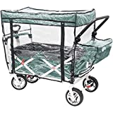 Push Pull Folding Wagon RAIN Cover, Zippered Plastic Dust/Weather Cover, Fits Push Pull Wagon, Bonus Carry Bag