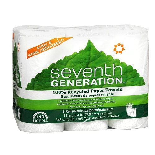 Recycled Paper Towels, Big Roll, 6 pk 140 sh