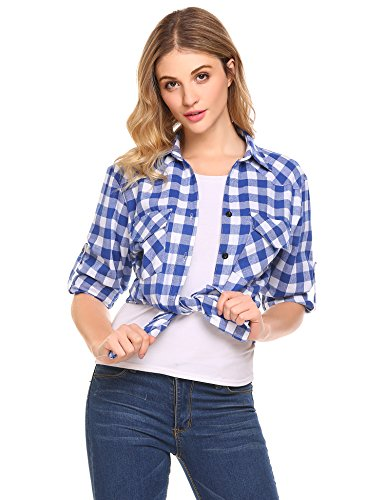 Dozenla Women's Flannel Shirt Cuffed Long Sleeve Boyfriend Plaid Blouse Button Down Top